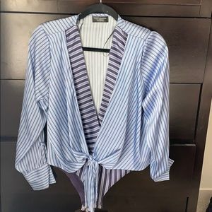 Zara silk stripe bodysuit